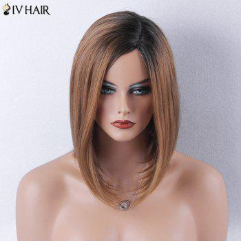 Siv Hair Medium Dark Root Straight Bob Side Part Human Hair Wig