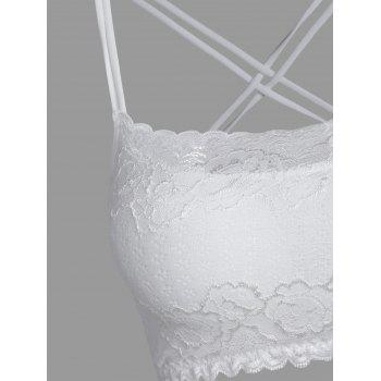 Criss Cross Backless Cami Crop Lace Top - WHITE ONE SIZE