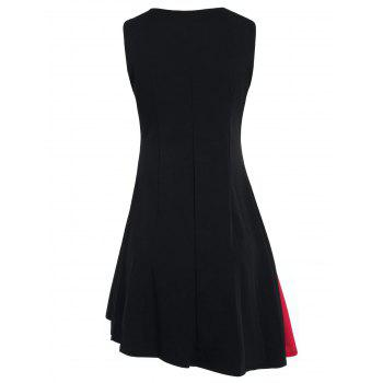 Two Tone A Line Sleeveless Dress - RED L
