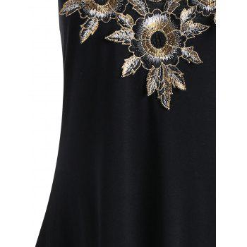 Floral Embroidered Criss Cross Handkerchief Dress - BLACK M