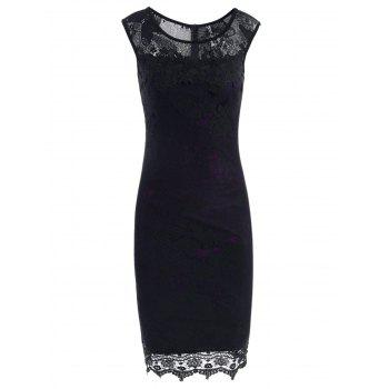 Lace Trim Sleeveless Fitted Dress