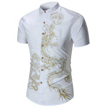 Short Sleeve Dragon Print Shirt