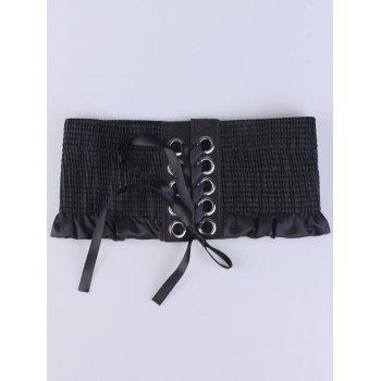Pleated Lace Up Metallic Circles Corset Belt -  BLACK