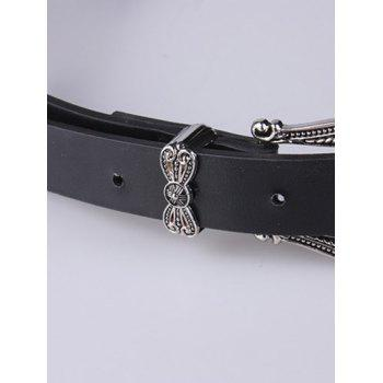 Artificial Leather Retro Carved Double Pin Buckle Belt -  BLACK