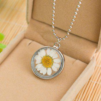 Glass Circle Sunflower Pendant Necklace