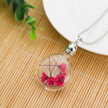 Glass Ball Dry Flower Pendant Necklace