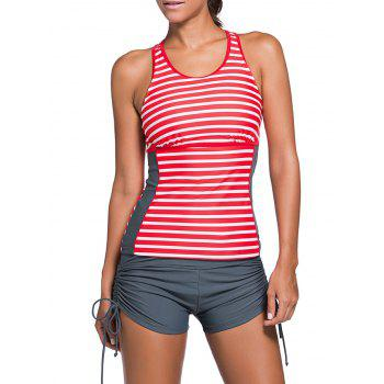 Stripe Cut Out Racerback Tankini Set