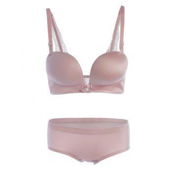 Front Closure Lace Panel Seamless Bra Set - PINK 75C
