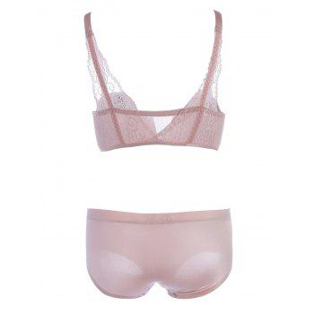 Front Closure Lace Panel Seamless Bra Set - PINK PINK