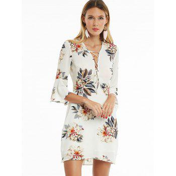 Lace Up Flare Sleeve Floral Print Dress