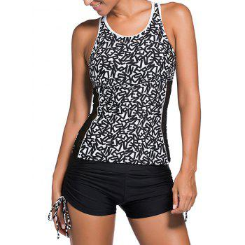 Letter Graphic Mesh Panel Cut Out Tankini Set