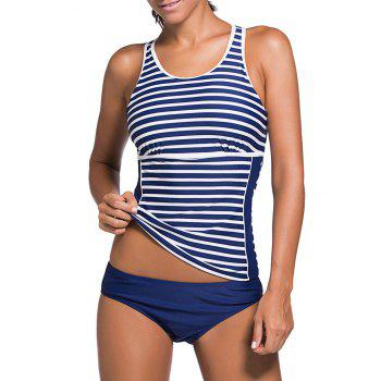 Cut Out Stripe Racerback Tankini Set