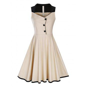 Plus Size Button Embellished 1950s Vintage Dress