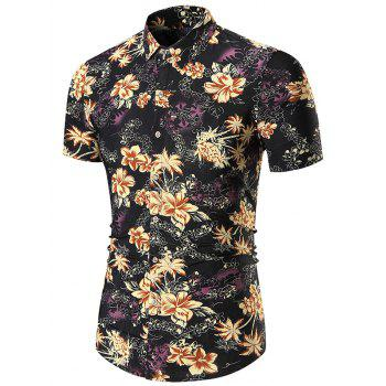 Short Sleeves Floral Print Shirt