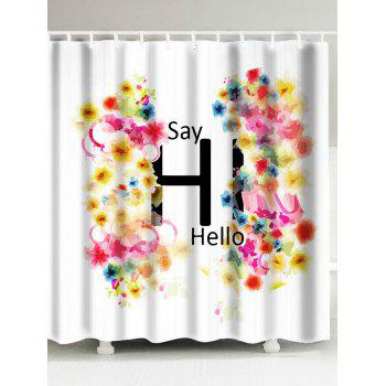 Colored Drawing Flower Waterproof Fabric Shower Curtain