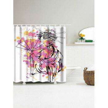 Classical Women Oil Painting Waterproof Shower Curtain - WHITE W71 INCH * L71 INCH