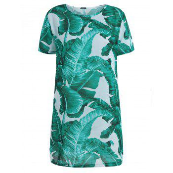 Palm Leaf Print Chiffon Mini Dress