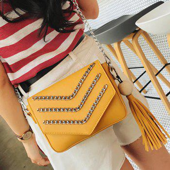 Tassel Wood Ball Chains Crossbody Bag
