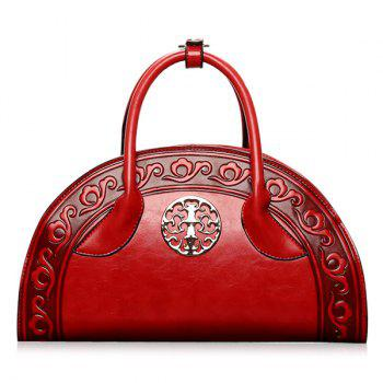Semi Circular Shaped Embossed Handbag - RED RED