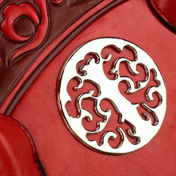 Semi Circular Shaped Embossed Handbag -  RED