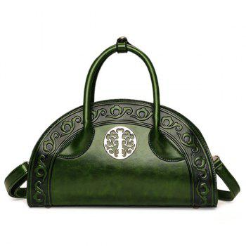 Semi Circular Shaped Embossed Handbag - GREEN GREEN