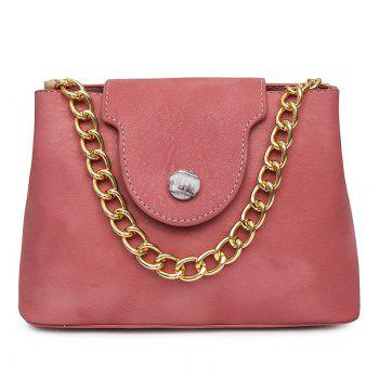 Chain Faux Leather Handbag - PINK PINK