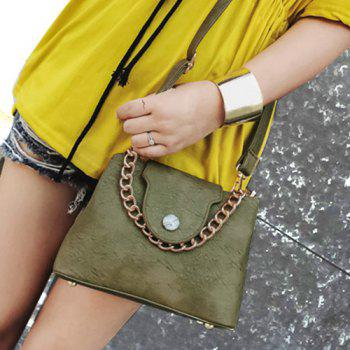 Chain Faux Leather Handbag - GREEN GREEN