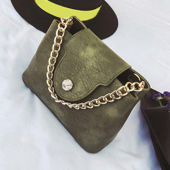Chain Faux Leather Handbag -  GREEN
