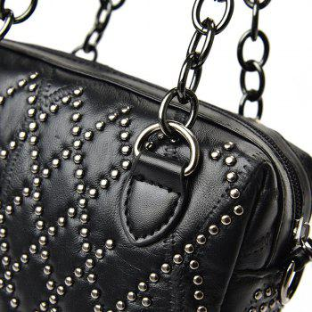 Punk Studded Chain Tote Bag -  BLACK