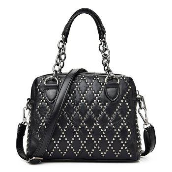 Punk Studded Chain Tote Bag - BLACK BLACK