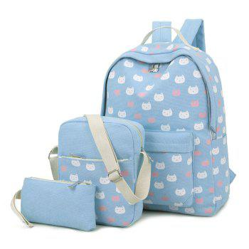 3 Pieces Canvas Cat Print Backpack Set