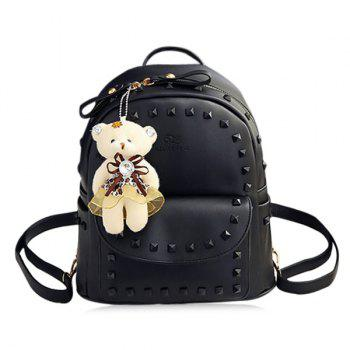 Rivet Faux Leather Backpack with Bear