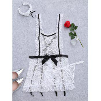 Plus Size Lace Sheer Housemaid Costume