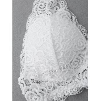 Halter Plunge Lace Padded Bandeau - WHITE WHITE