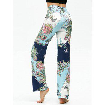 High Waisted Ethnic Print Boho Pants - LIGHT BLUE XL