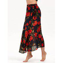High Waisted Floral Print Chiffon Wrap Skirt