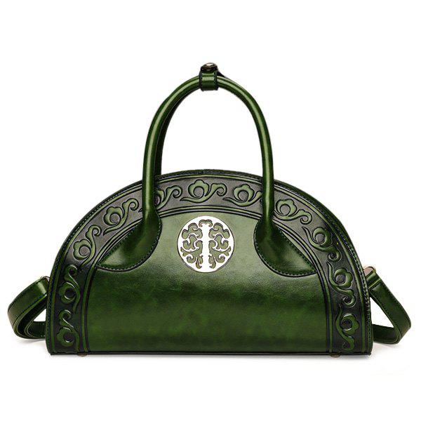 Semi Circular Shaped Embossed Handbag - GREEN