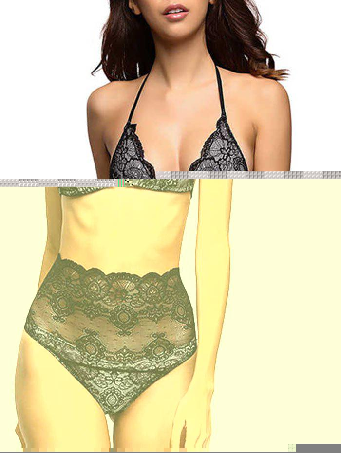 Transparent High Waisted Wire Free Lace Bra and Panty pad lace bra top and panty set