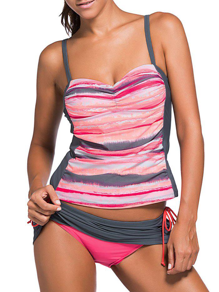 Scrunch Side Underwire Push Up Tankini Swimsuit Set - ORANGE RED XL
