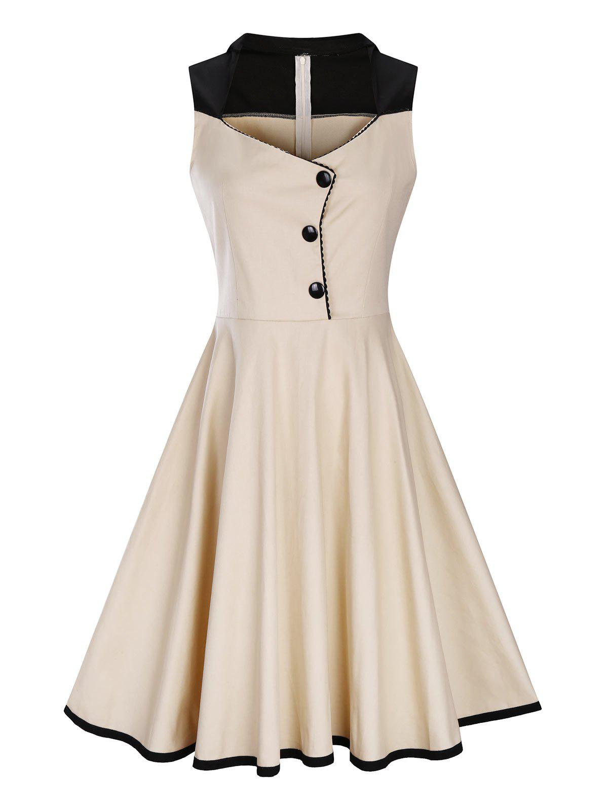 2018 Plus Size Button Embellished 1950s Vintage Dress CANDY BEIGE ...