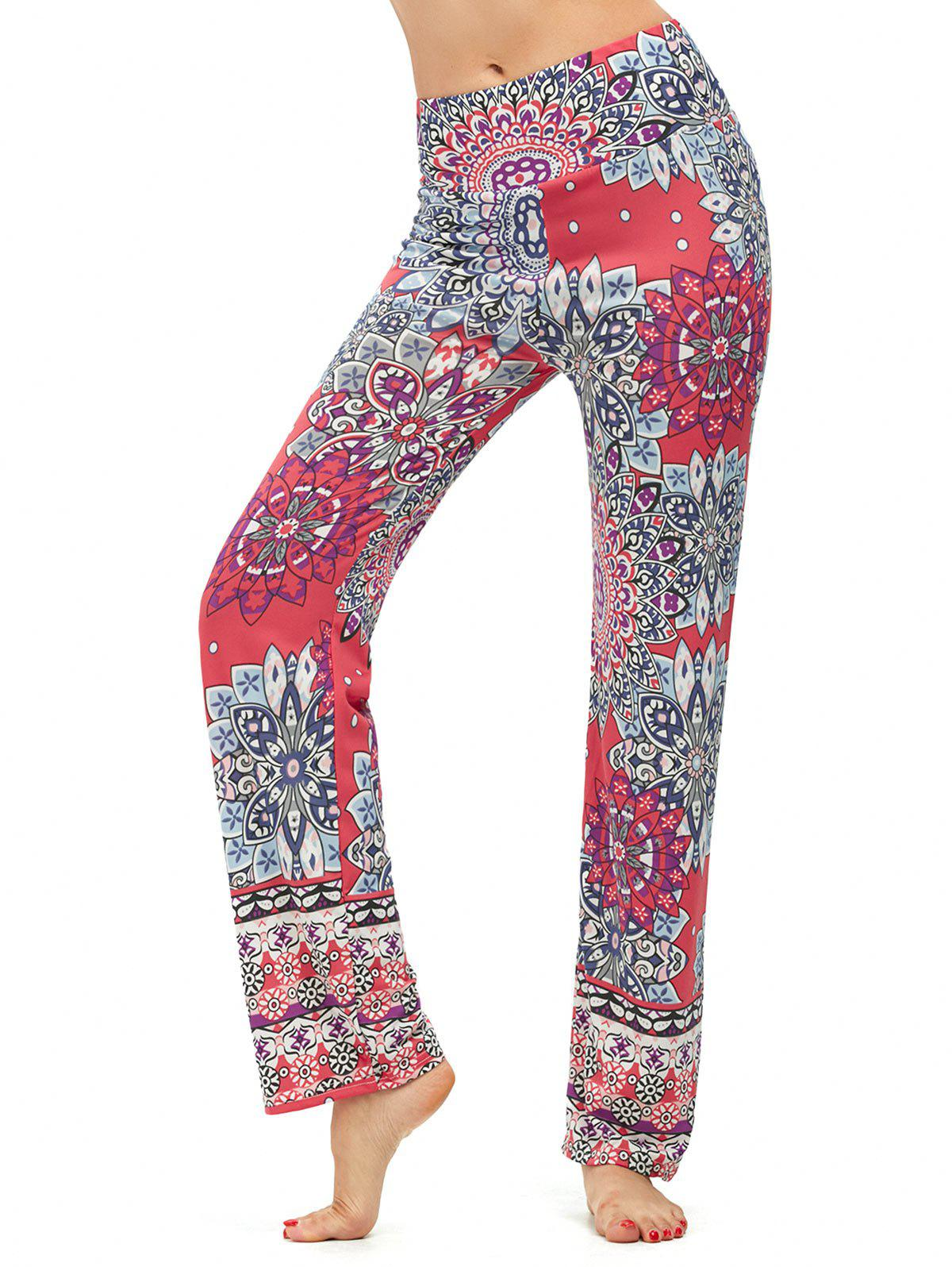 High Waisted Print Boho Pants - WATERMELON RED XL