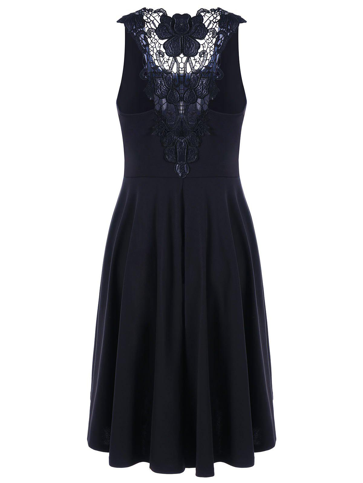 Lace Trim High Low Hem Dress - BLACK XL