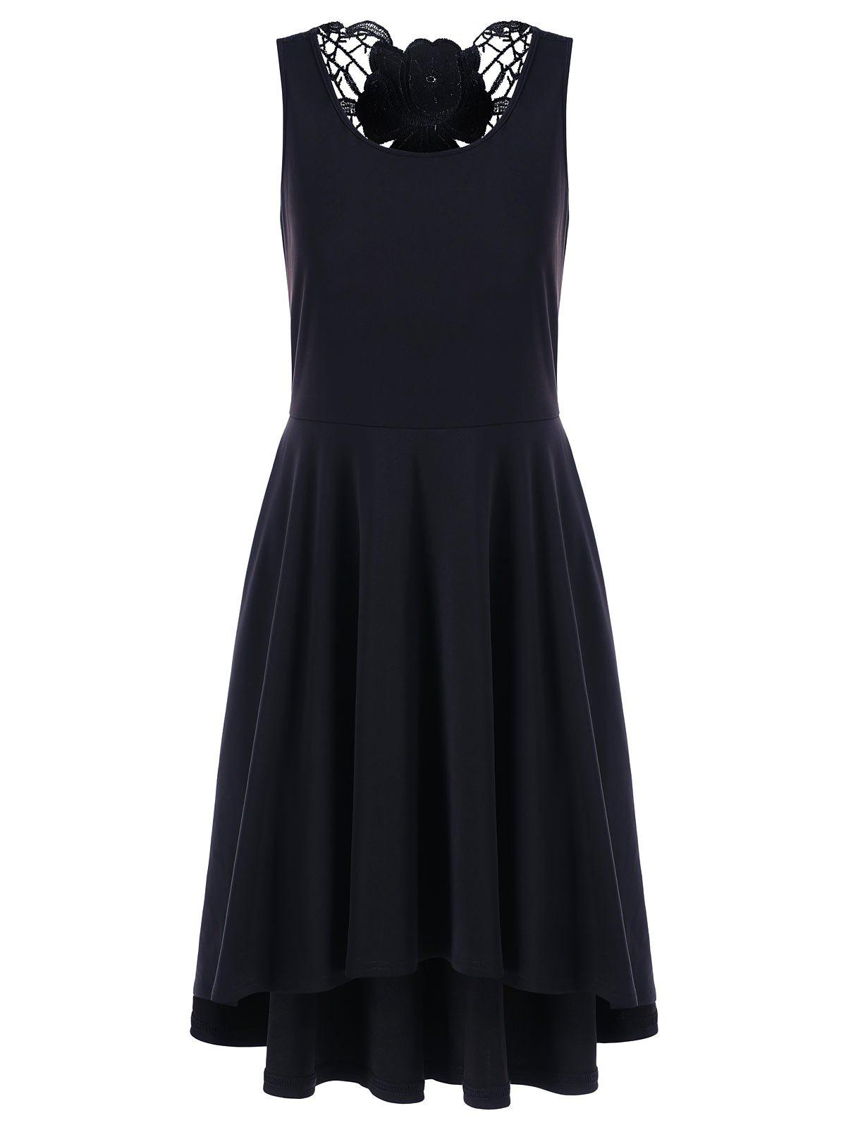 Lace Trim High Low Hem Dress - Noir M