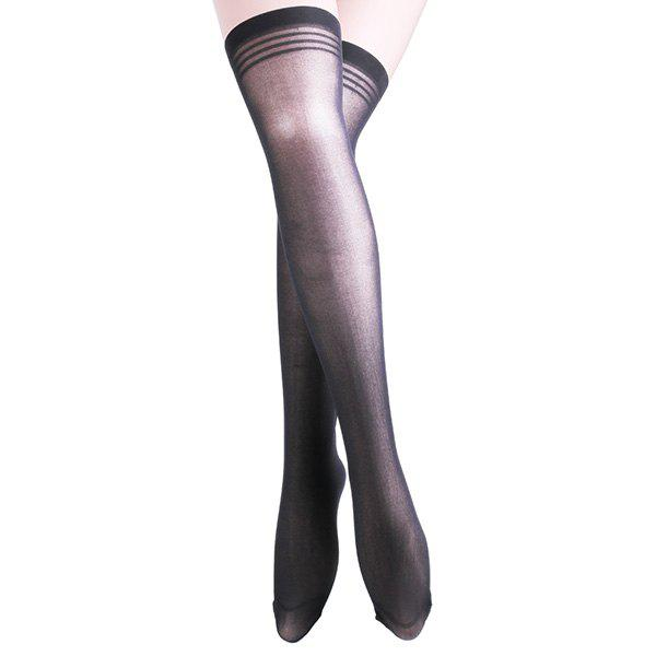 Striped Brim Skinny Stockings - BLACK