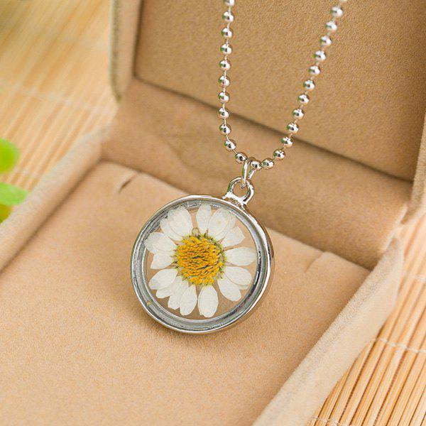 Glass Circle Sunflower Pendant Necklace - SILVER