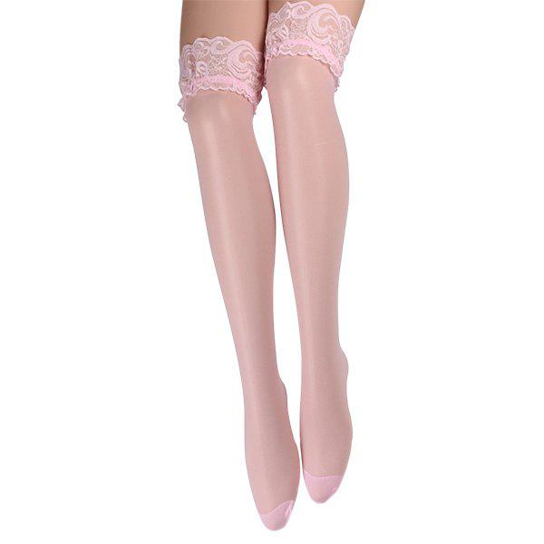 Skinny Lace Brim Stockings - PINK