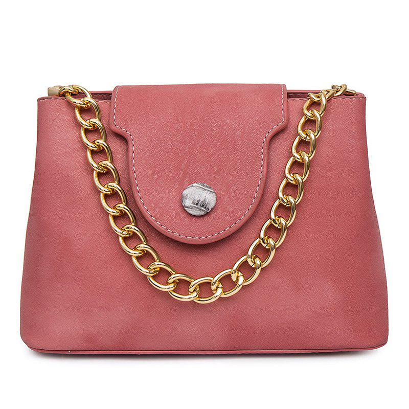 Chain Faux Leather Handbag - PINK