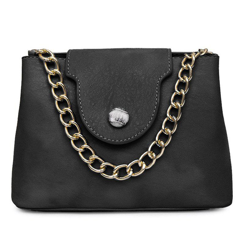 Chain Faux Leather Handbag - BLACK