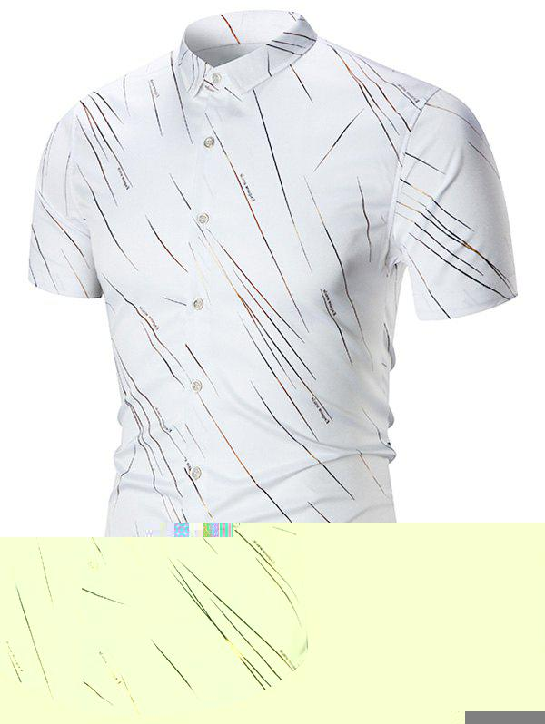 Short Sleeve Meteor Rain Printed Shirt - WHITE 2XL