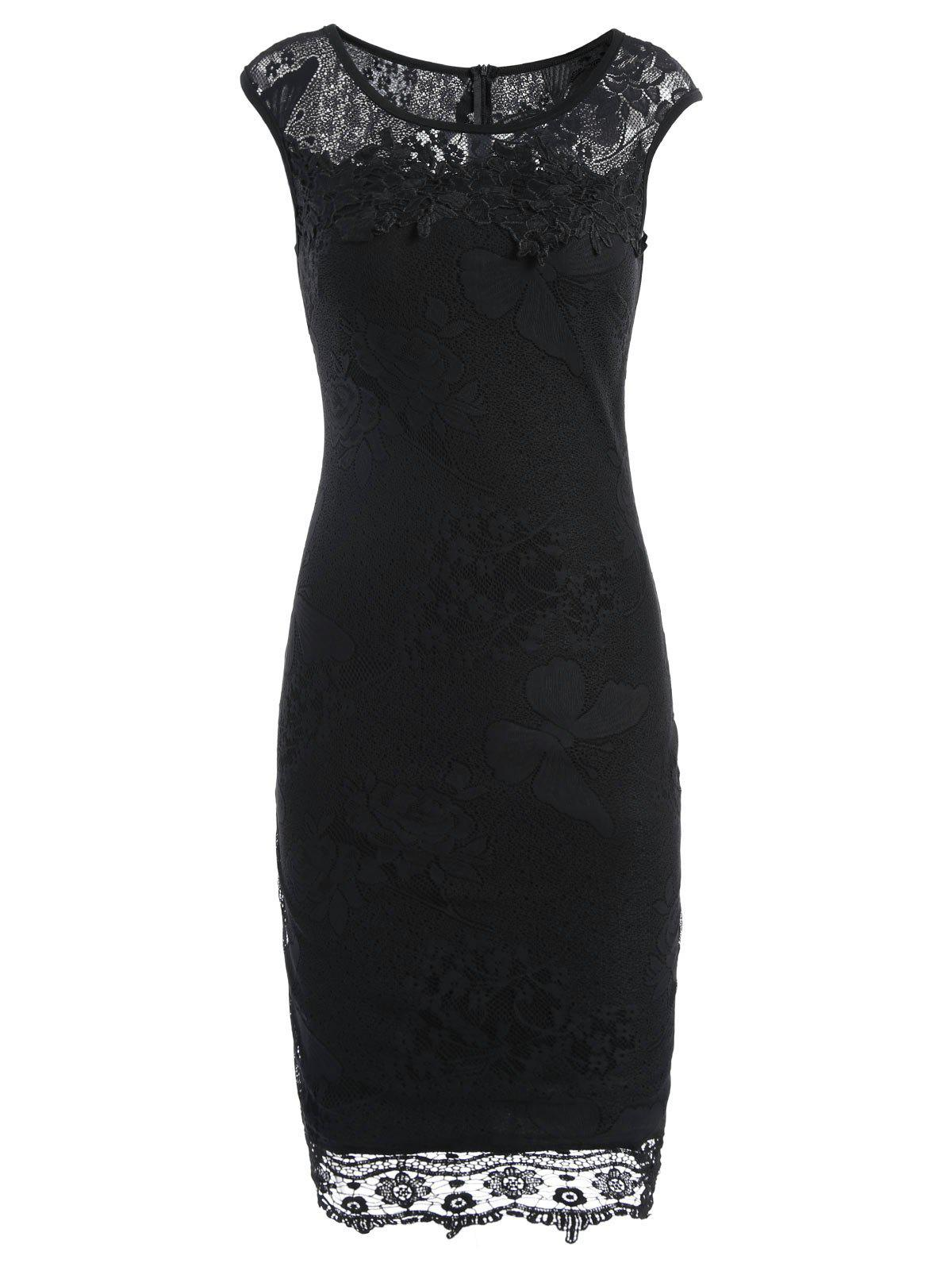 Lace Trim Sleeveless Fitted Dress - BLACK 2XL